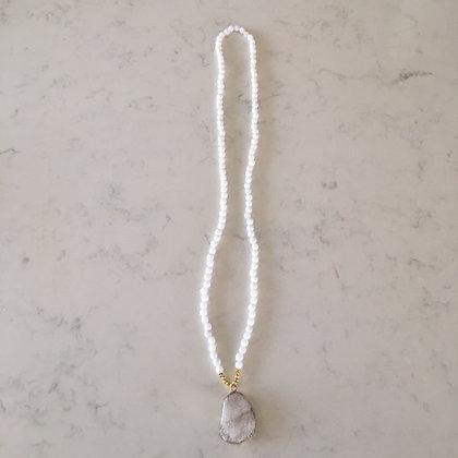 White Druzy Agate Necklace