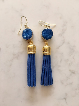 Blue Druzy and Tassel Earring