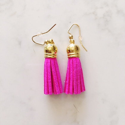 Hot Pink Short Tassel Earring