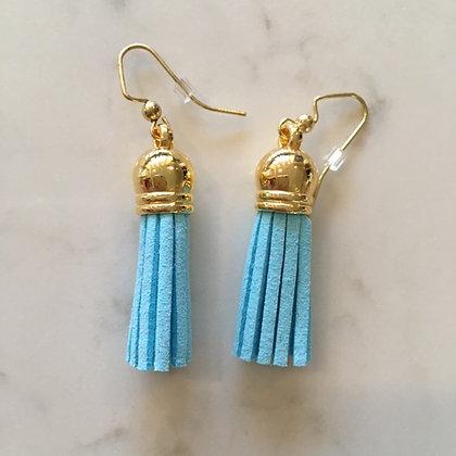 Light Blue Short Tassel Earring
