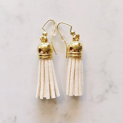 Cream Short Tassel Earring