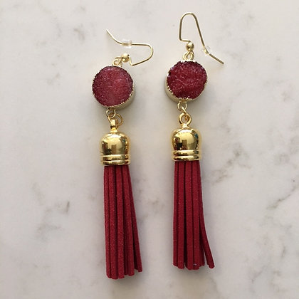 Red Druzy and Tassel Earring