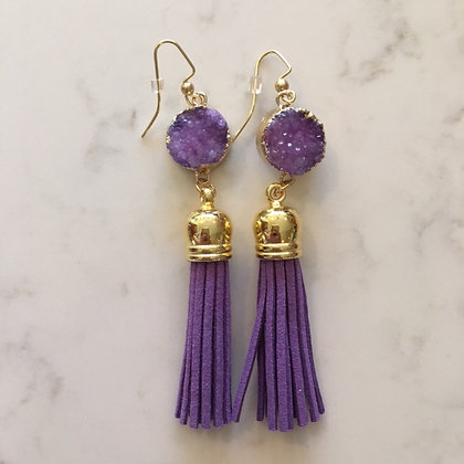 Purple Druzy and Tassel Earring