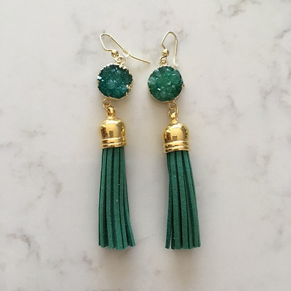 Green Druzy and Tassel Earring