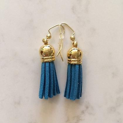 Dark Turquoise Short Tassel Earring