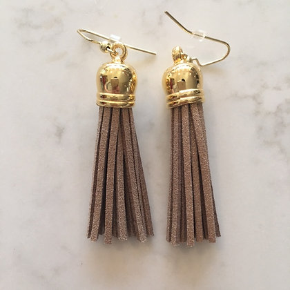 Taupe with Sparkly Gold Medium Tassel Earring