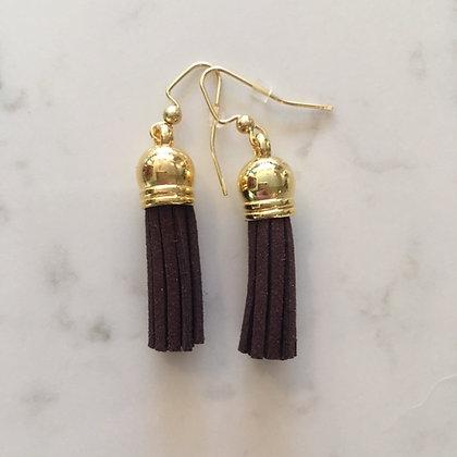 Dark Brown Short Tassel Earring