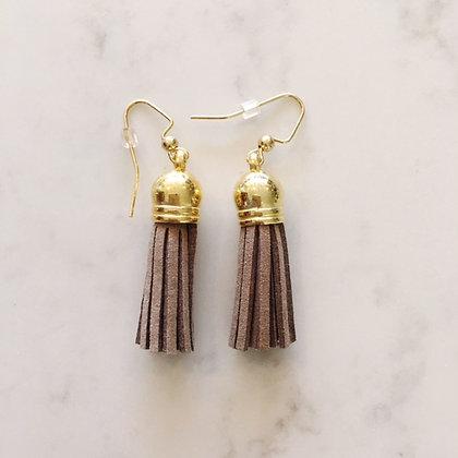 Taupe Short Tassel Earring