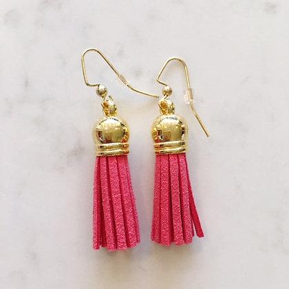Coral Short Tassel Earring