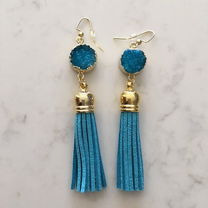Turquoise Druzy and Tassel Earring