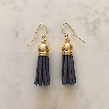 Dark Grey Short Tassel Earring