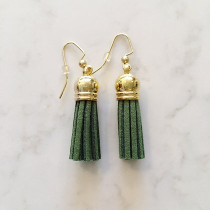 Hunter Green Short Tassel Earring