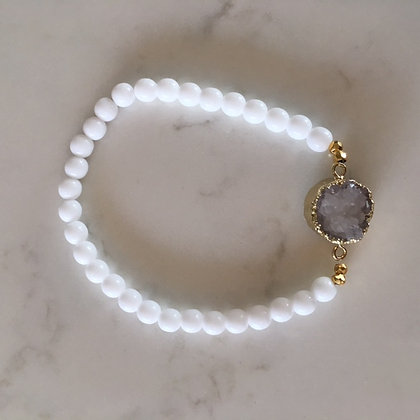 White Druzy Agate Bracelet