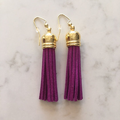 Orchid Purple Medium Tassel Earring