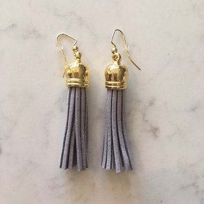 Light Grey Medium Tassel Earring