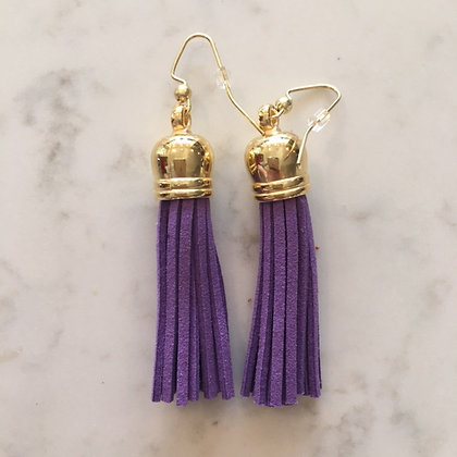 Purple Medium Tassel Earring