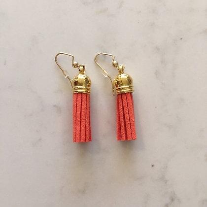 Orange Short Tassel Earring