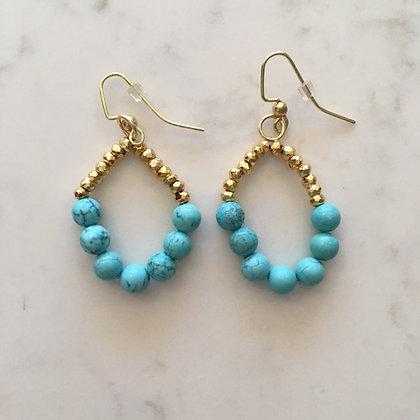 Turquoise Bead Circle Earring