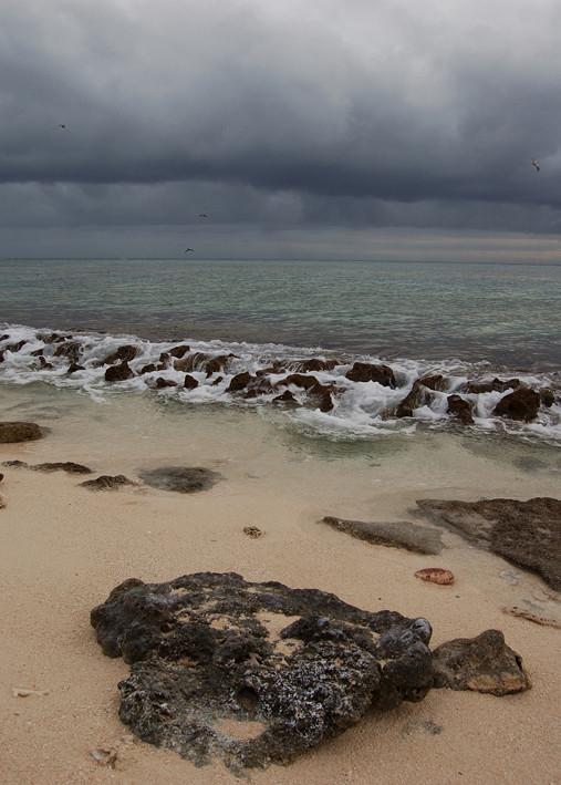 L'île Surprise est située dans une zone cyclonique très intense. Un ciel menaçant provoque immédiatement une angoisse collective, face à une montée possible des eaux.