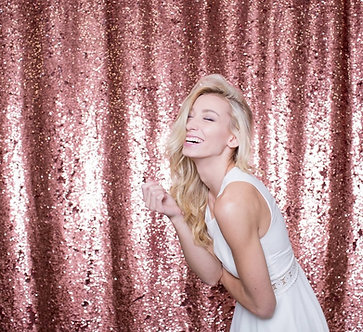 Rose Gold Shimmer Backdrop -- 12' W x 14' H - LARGER SIZES AVAILABLE