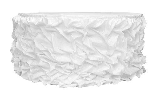 Fancy Satin Table Skirting 21' Ruffle (White, Ivory & Black)