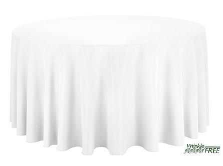 "120"" Round Scuba Table Cloth (White)"