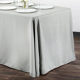 "90"" x 132"" Polyester Table Cloth (Silver/Grey)"