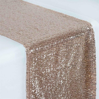 "--- Sequin Shimmer Runners --- 12"" x 108"" (Rose Gold)"