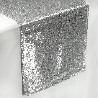 """--- Sequin Shimmer Runners --- 12"""" x 108"""" -(Silver)"""