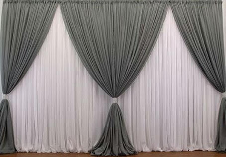 Grey Curtains Backdrop