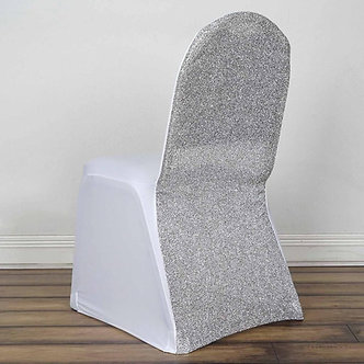 Shimmer Spandex Chair Cover - Silver
