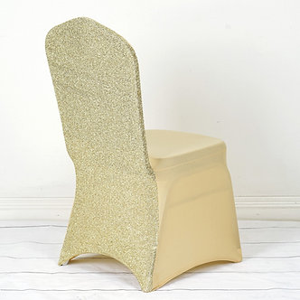 Shimmer Spandex Chair Cover - Champagne