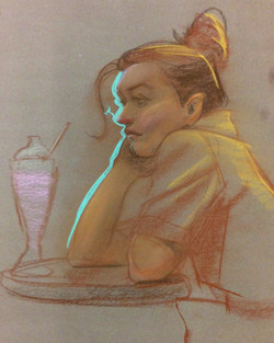20 min Pastels on Craft Paper