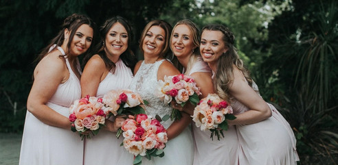 Peach and Coral Bridal Party Flowers