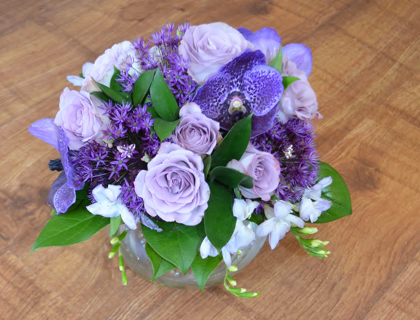 Purple modern romance bridal bouquet with meaning