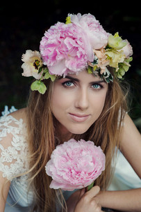 Peony wedding flower crown