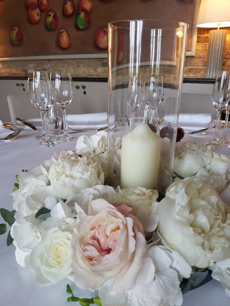 Guest table centre ring & candle vase at Coworth Park