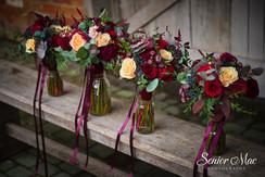 Shades of burgundy & peach bridesmaid bouquet