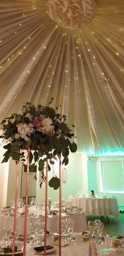 Rose gold frame tall garden flower table centre