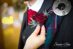 Thisle red rose Scottish wedding buttonhole