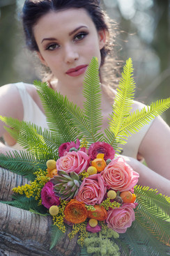 Vibrant pink, orange and touch of yellow with feature fern greenery for woodland colour pop wedding theme055.jpg