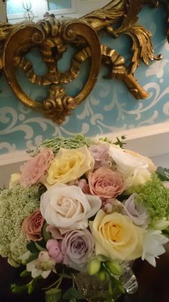 Vintage pastel mix rose wedding bouquet