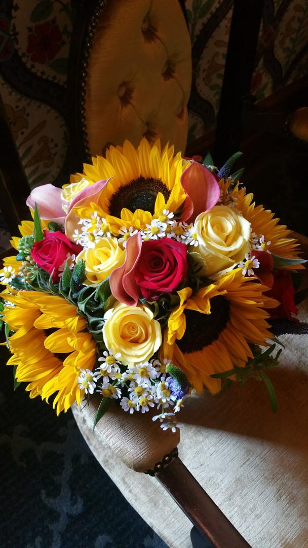 Luxury sunflower red rose wedding bouquet