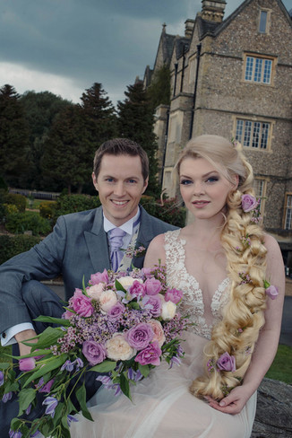 Fairytale wedding couple wedding flowers