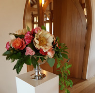 Entrance Flowers silver bowl coral peonies