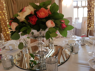 Guest table flowers Silver punch bowl