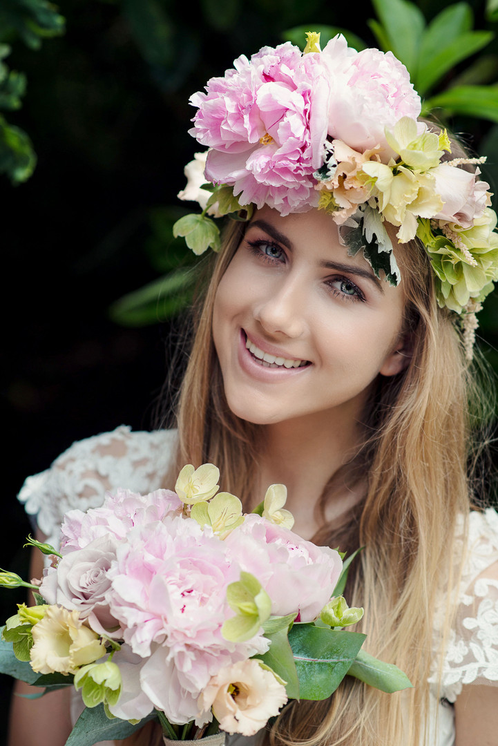 Peony bridal bouquet and flower crownBarnett Hill