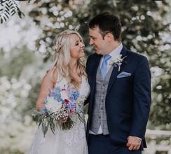 Romantic blue, white and raspberry bride bouquet