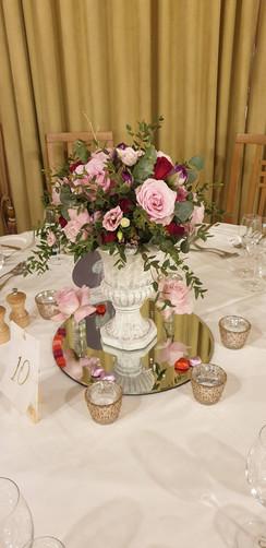 Rose Garden wedding table centre urn