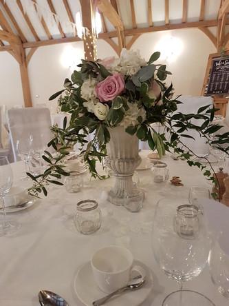 Romantic Urn Guest Table centre flowers